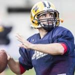 Cambridge, MA - 9/23/2015 - Quarterback Jeff Costello runs through plays during football practice at Buckingham Browne & Nichols School in Cambridge, MA, September 23, 2015. (Keith Bedford/Globe Staff)